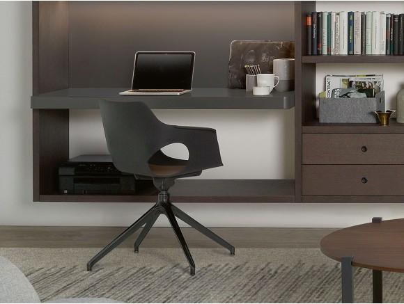 Silla Ole giratoria con base de metal y asiento en polipropileno, madera o tapizado Time
