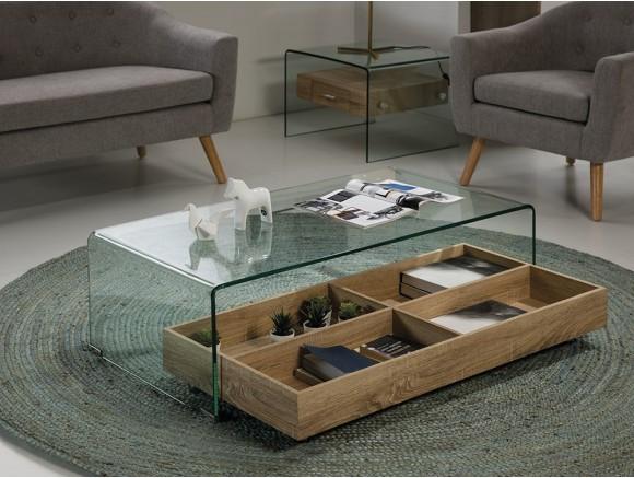 Mesa de centro de cristal con cajón de madera con ruedas Sidney Minus