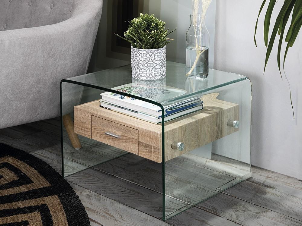 Mesa auxiliar de cristal con estante con cajón de madera Sidney Plus