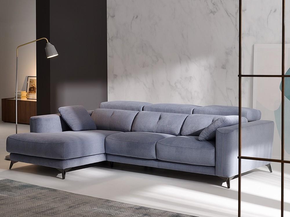 Sofá con chaiselongue tapizado en textil o piel Julia