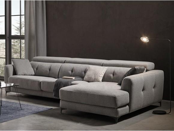 Sofá con chaiselongue tapizado en textil Claudia