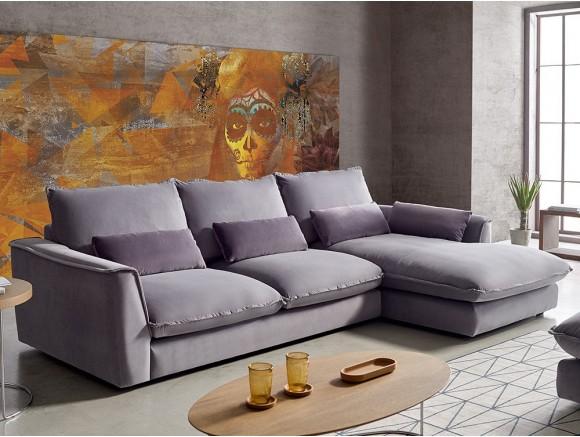 Sofá con chaiselongue tapizado en textil Mauro