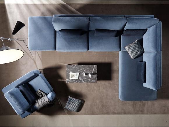 Sofá modular en esquina tapizado en textil Adagio