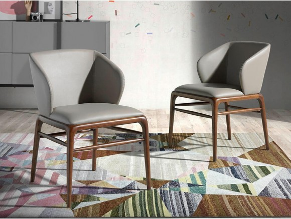 Silla de madera color nogal y asiento tapizado en polipiel 4065 de Ángel Cerdá