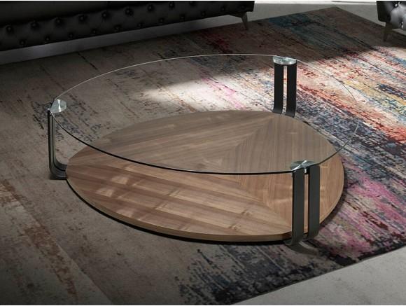 Mesa de centro de cristal templado y madera 2055 de Ángel Cerdá