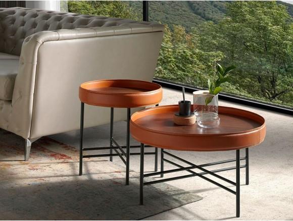 Mesa de centro de nogal con aro de cuero y pies de acero 2058 de Ángel Cerdá