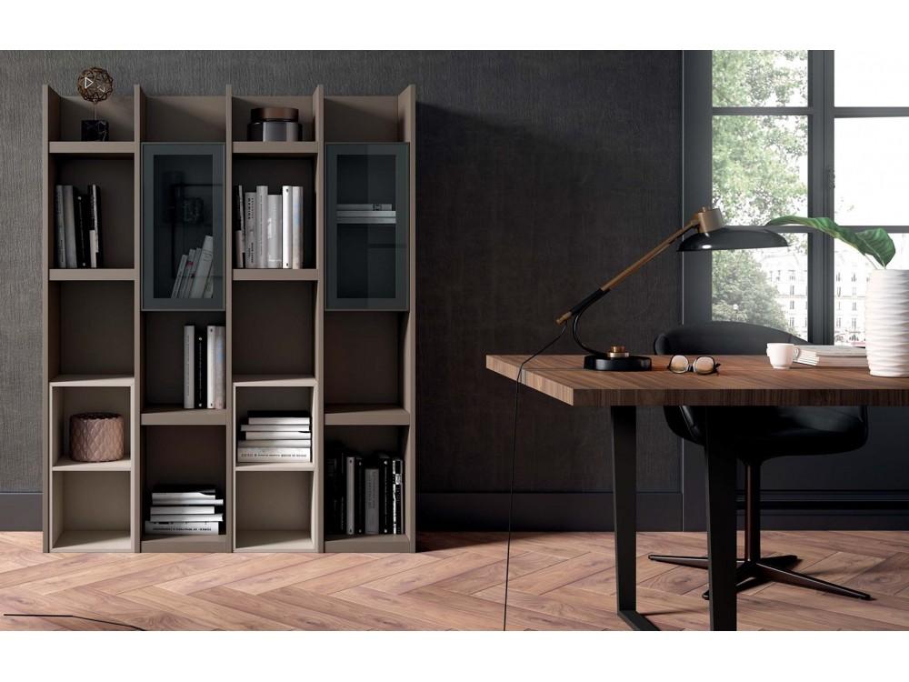 Mesa de comedor fija de madera y metal color sombra Trazo de Proyecta
