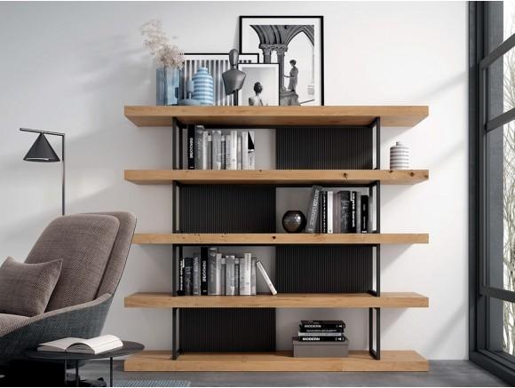 Librería Doble con estantes en chapa roble y estructura de metal Proyecta