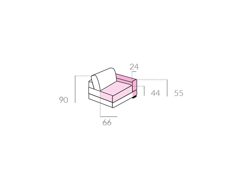 Sofá con chaiselongue tapizado en textil Paula