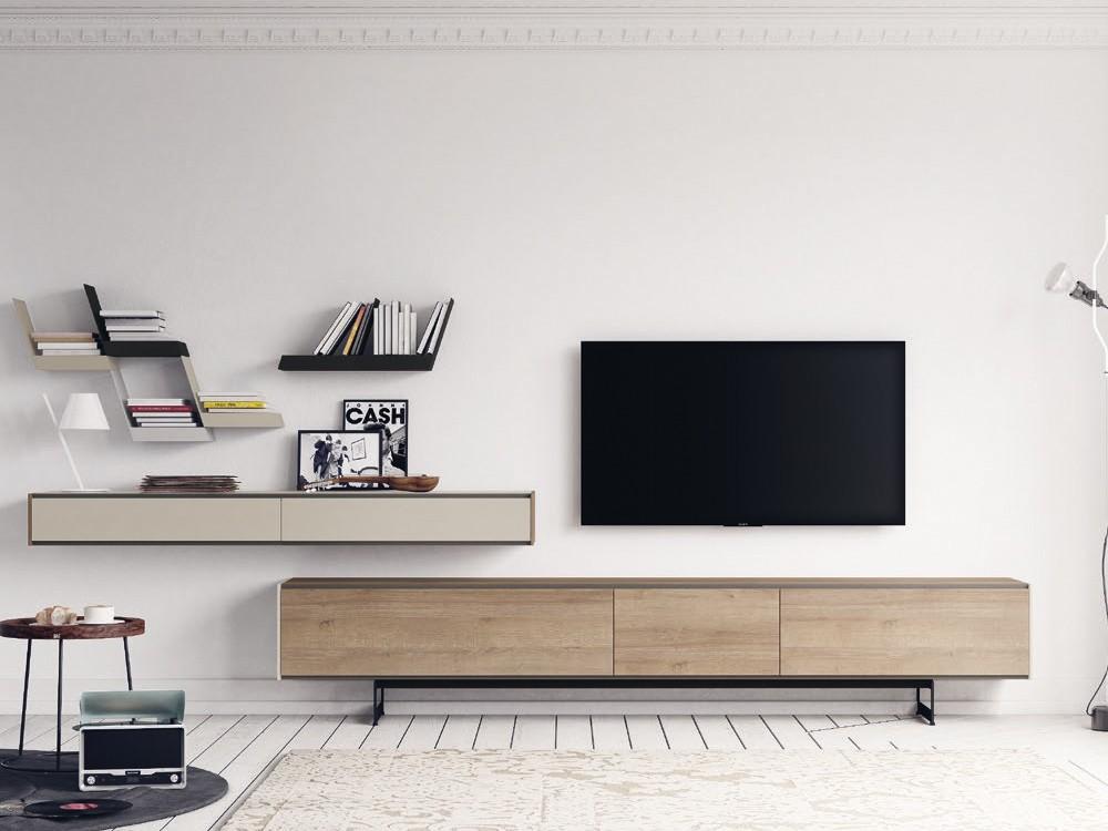 Composición para salón con mueble para televisión y estantes AddLiving