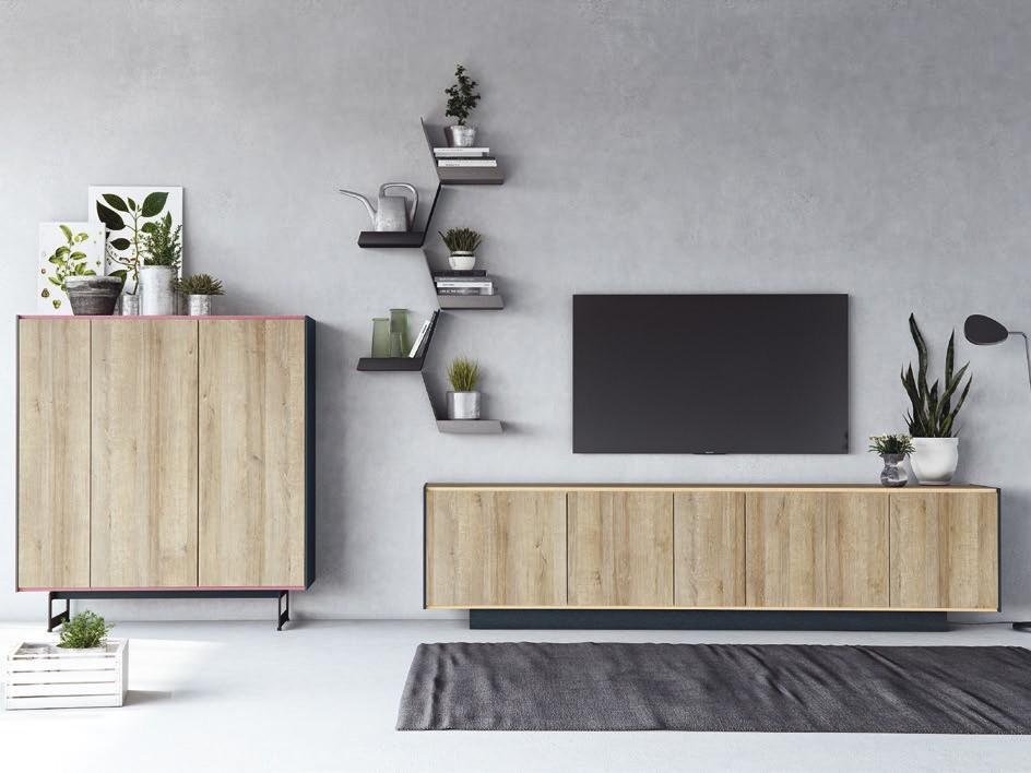 Muebles de salón con mueble bajo y aparador Upsala de