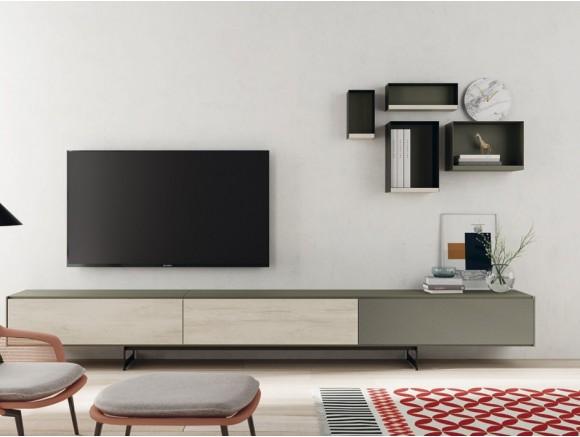 Mueble de salón bajo con estantes metálicos AddLiving y Lifebox