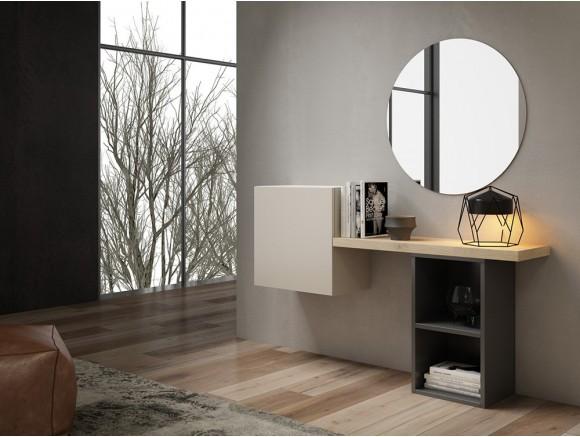 Mueble recibidor de diseño moderno con estantes y puerta