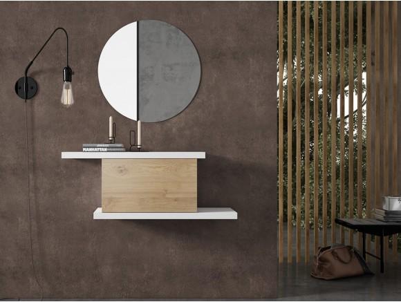 Mueble recibidor minimalista con puerta abatible en chapa roble