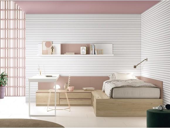 Dormitorio modular Complet con cama con arcón elevable lateralmente Stay