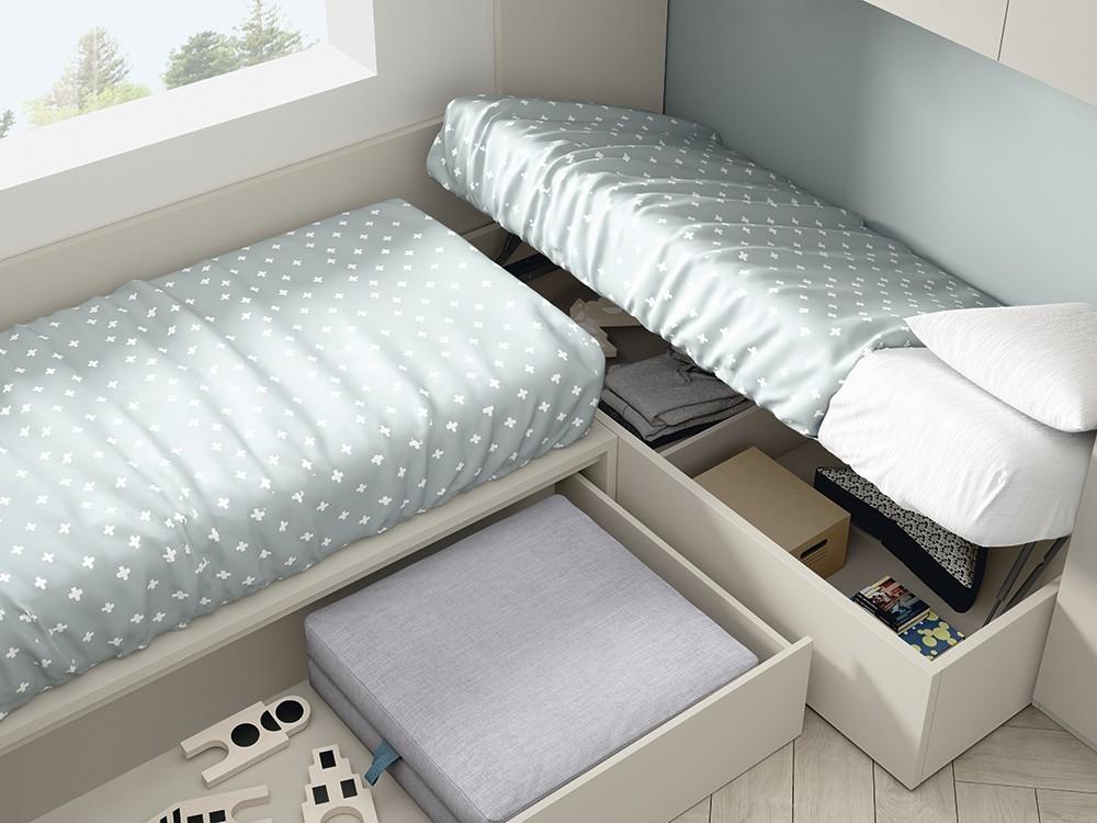 Cama modular Up con arcón elevable lateralmente Stay