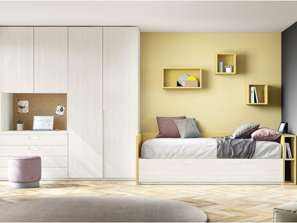 Dormitorio juvenil con cama nido Complet y armario con escritorio Stay