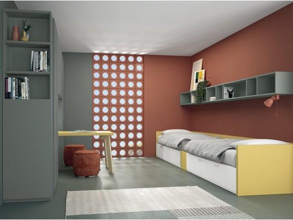 Dormitorio juvenil con dos camas Complet Square Stay