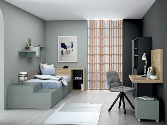 Dormitorio juvenil con cama nido Complet y escritorio Join Stay