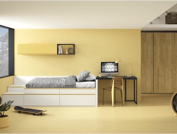 Dormitorio juvenil modular Complet con cama con cajones y mesa de estudio Stay