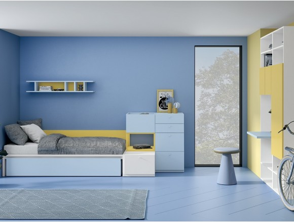 Dormitorio juvenil modular Complet con cama con cajón diáfano Stay