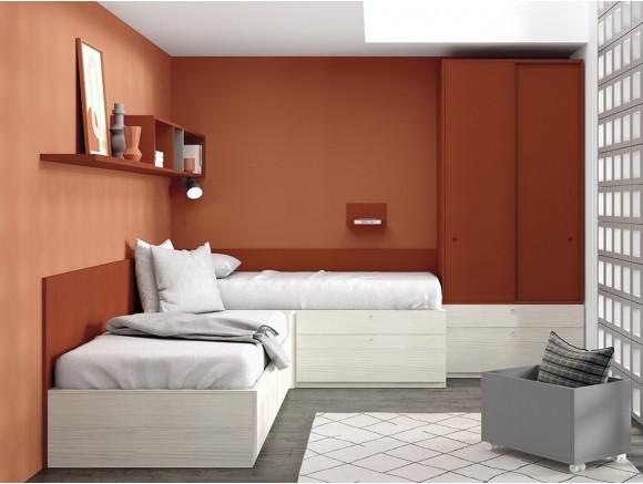 Dormitorio juvenil modular Complet con dos camas en esquina Stay