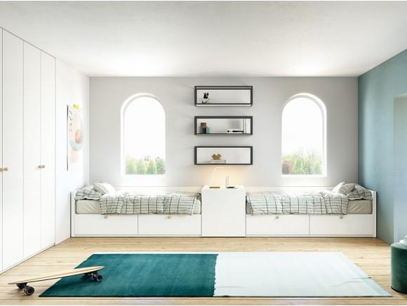 Dormitorio juvenil modular Complet con dos camas con cajones Stay