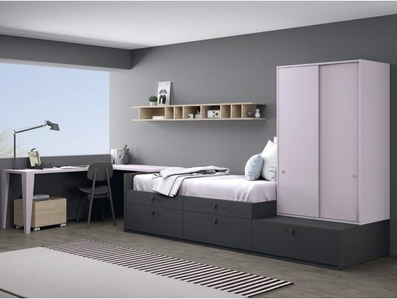 Dormitorio juvenil modular Complet con cajones y escritorio en esquina Stay