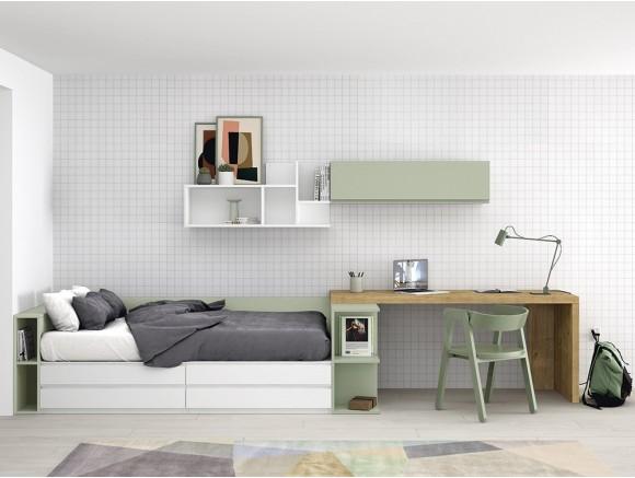Dormitorio juvenil modular Complet con cama con cajones Stay