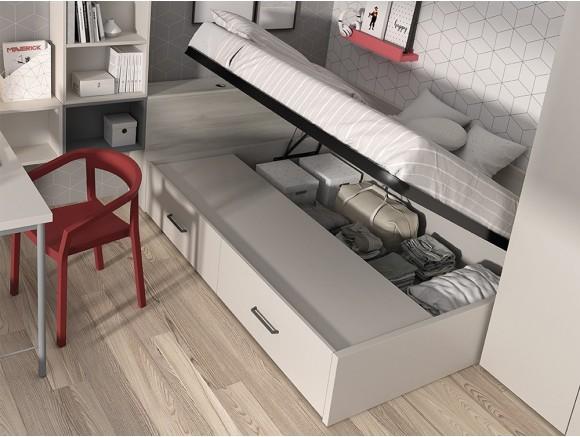 dormitorio con cama arcón combinada con cajones Mood