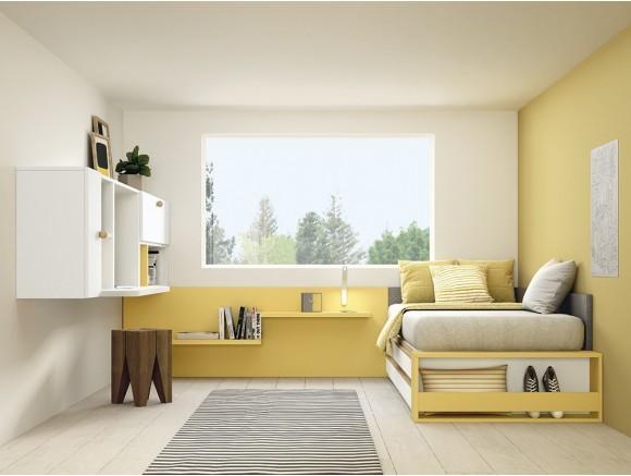 Dormitorio juvenil modular Complet con cajones y zona de estudio colgada Stay