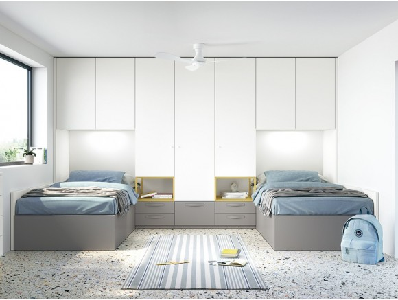 Dormitorio juvenil modular Complet dos camas Stay