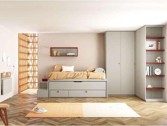 Cama compacta Basic con dos camas y dos cajones Stay