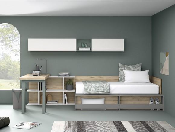 Dormitorio juvenil con cama con aro y estantería frontal Stay