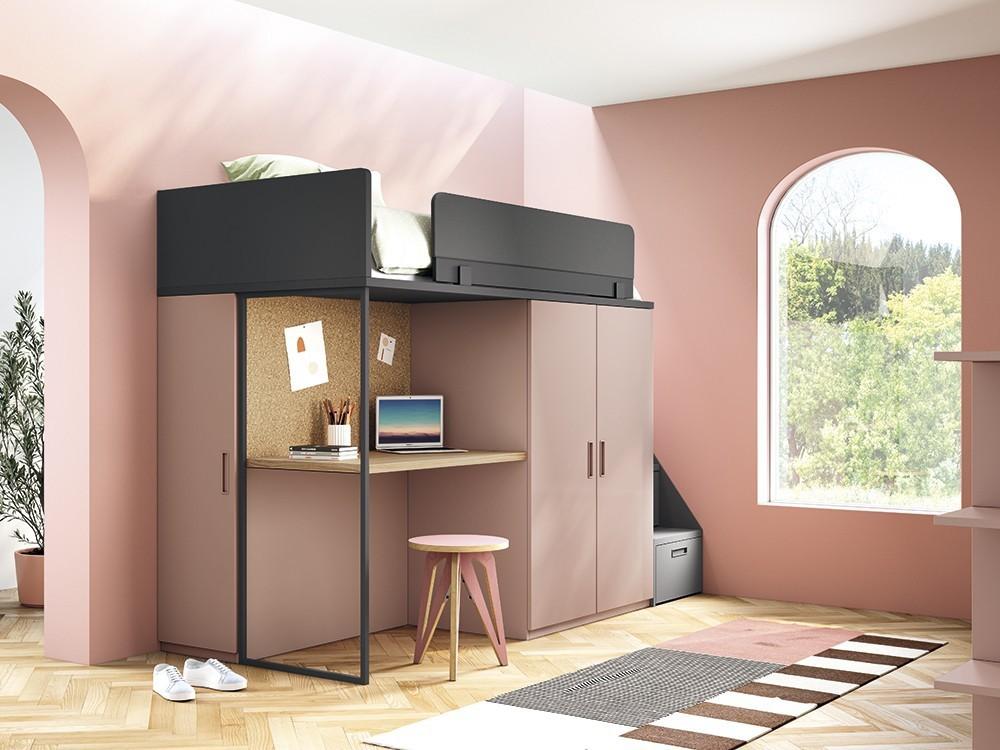 Cama alta con zona de estudio, armario y escalera con cajones Stay
