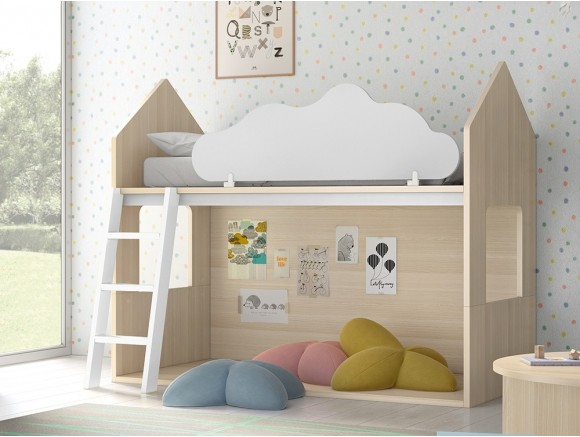 Litera casita Nordic con nube quitamiedos abatible Stay