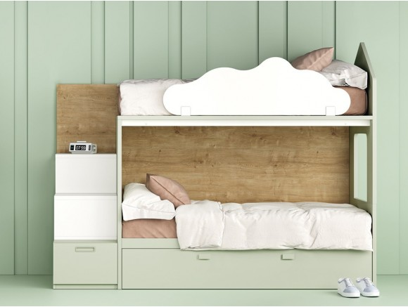 Litera casita con arrastre y escalera estantería con cajón Stay