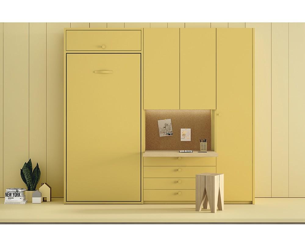 Dormitorio juvenil con cama abatible vertical con altillo y zona de estudio Stay