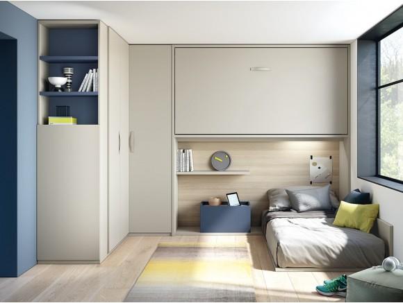 Dormitorio con cama alta abatible Murphy y cama baja sobre tarima Stay