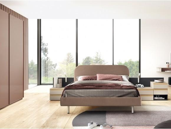 Dormitorio con cama Cotton con cabezal y aro tapizados Stay