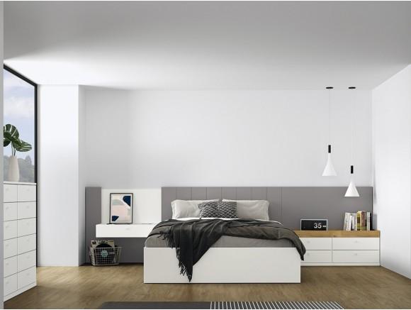 Dormitorio con cama con cabezal Olimpia y mesitas de noche Stay