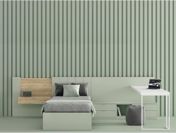 Dormitorio juvenil con cama con cabezal Olimpia Stay