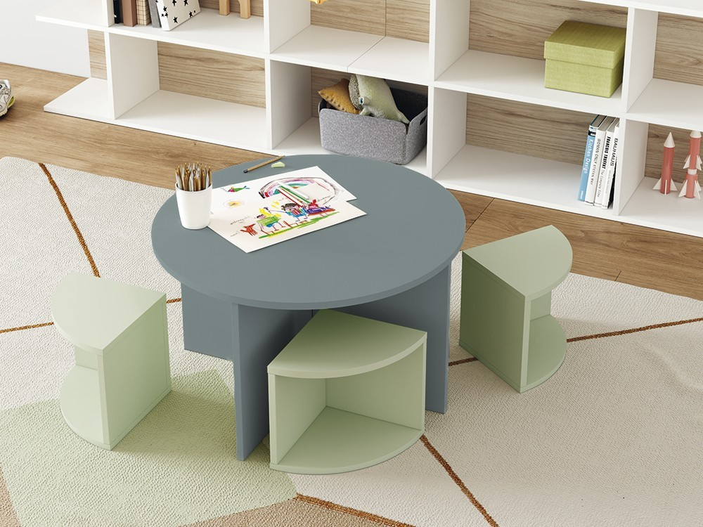 Mesa infantil redonda o taburete Toy Stay