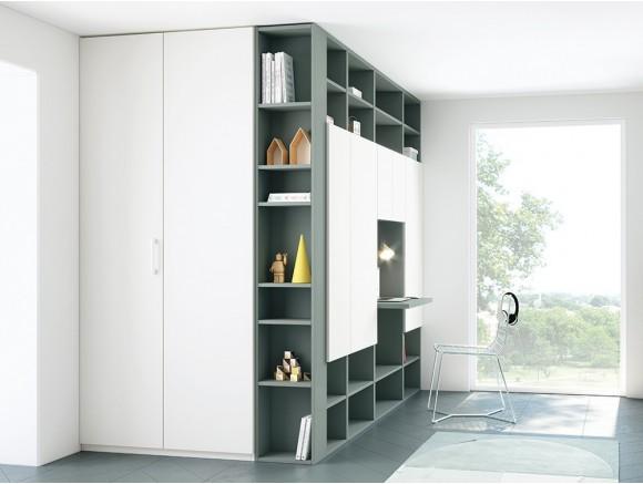 Zona de trabajo o estudio con estanterías Troya y armario