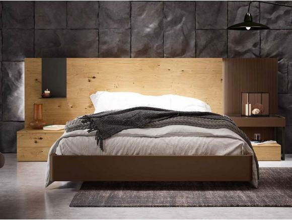Dormitorio con estructura de cama con cabecero Wall y mesitas de noche Diversa