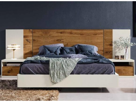 Dormitorio con estructura de cama con cabecero Tempo y mesitas Lyon Diversa