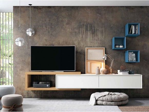 Mueble para TV suspendido en roble y blanco COVER 32