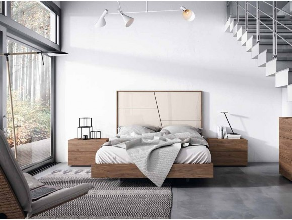 Dormitorio con estructura de cama con cabecero Collage Corto Gráfika
