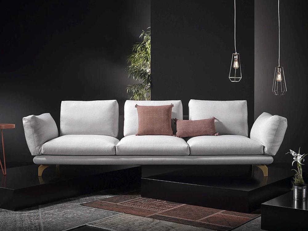 Sofá de diseño tapizado en tela Axis
