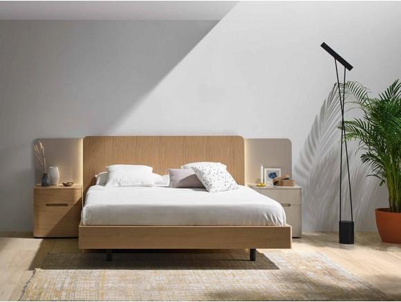 Dormitorio con cabecero en acabado roble Land